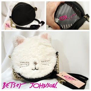 Betsey Johnson Round Furry Kitty Crossbody Purse